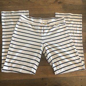 Tory Burch Navy/Cream Striped Tab Snap Jersey Pant